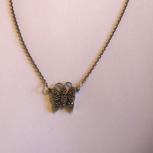 Ster. Silver vintage marcasite butterfly necklace